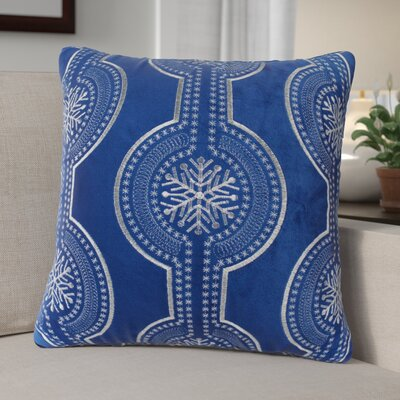 Elem Embroidery Velvet Throw Pillow Color: Blue