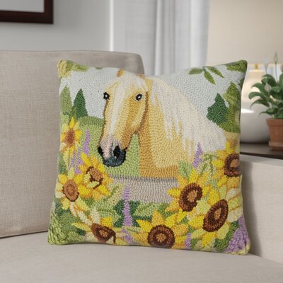 Gardella Horse with Sunflowers Wool Throw Pillow
