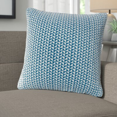 Catron Embroidered Block Throw Pillow Color: Blue