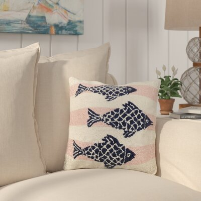 Hochstetler Pink Stripe School Of Fish Wool Throw Pillow