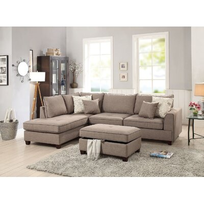 Ayita Reversible Sectional with Ottoman Upholstery: Light Brown