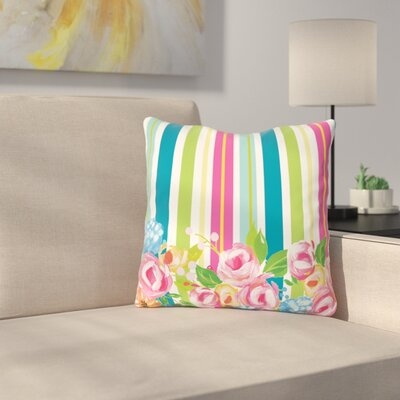 Pettengill Colorful Flower Stripes Throw Pillow Size: 18 x 18