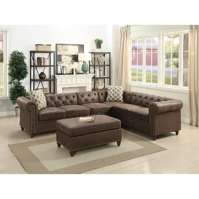 Henking Modular Sectional with Ottoman Upholstery: Coffee