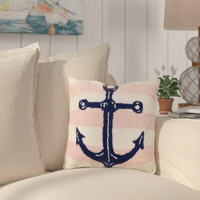 Hockensmith Pink Stripe Anchor Wool Throw Pillow
