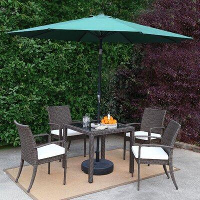 Market Wicker Outdoor Patio 7 Piece Dining Set With Umbrella Accessory Color: Green