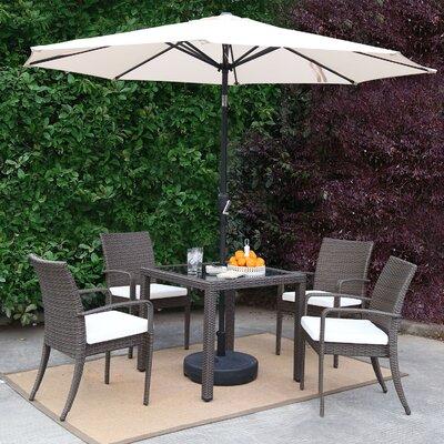 Market Wicker Outdoor Patio 7 Piece Dining Set With Umbrella Accessory Color: White