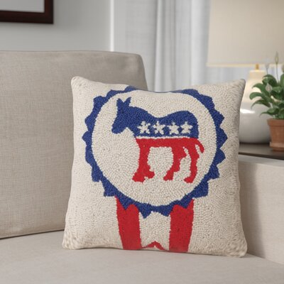 Neville Democrat Logo Pin Wool Throw Pillow