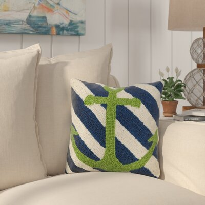 Ealy Anchor Stripes Wool Throw Pillow
