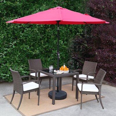 Market Wicker Outdoor Patio 7 Piece Dining Set With Umbrella Accessory Color: Red