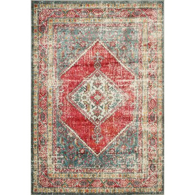 Ralph Soft Gray/Red Area Rug Rug Size: Rectangle 27 x 5