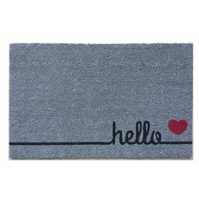Gamma Hello Heart Vinyl Backed Coir Doormat