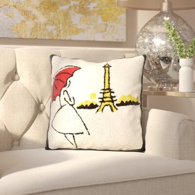 Mcnear Red Umbrella Wool Throw Pillow