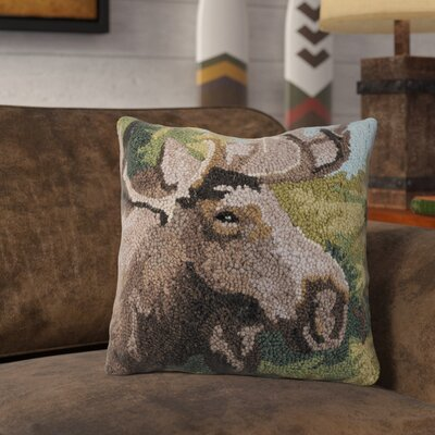 Rathbun Forest Moose Wool Throw Pillow