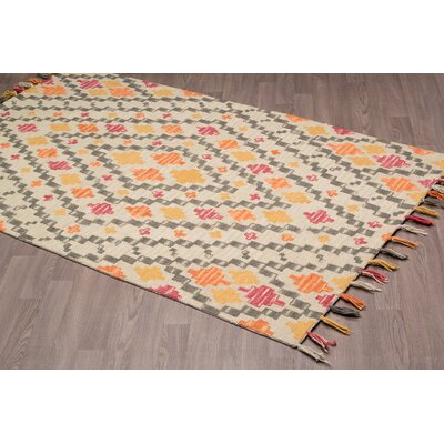 Rambert Southwestern Hand-Woven Gold Wool Area Rug Rug Size: Rectangle 8 x 10