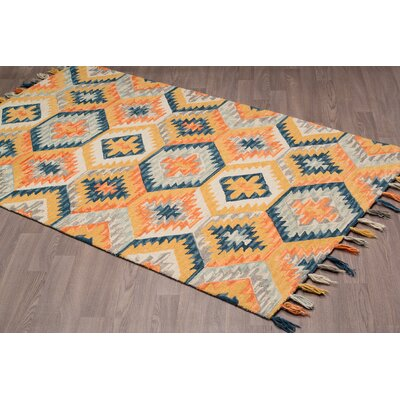 Rambert Hand-Woven Gold Wool Area Rug Rug Size: Rectangle 8 x 10