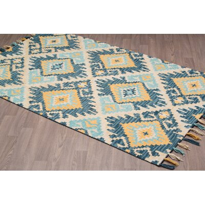Rambert Hand-Woven Blue Wool Area Rug Rug Size: Rectangle 5 x 8