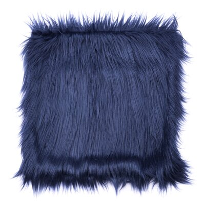 Hollowell Faux Fur Throw Pillow Color: Blue