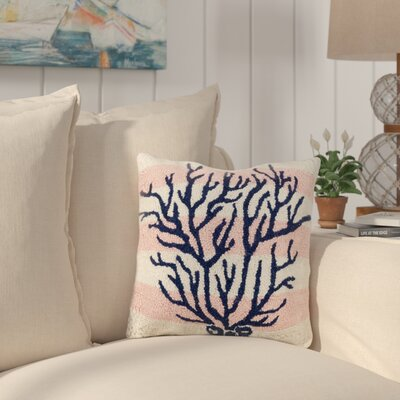 Hobgood Pink Stripe Coral Wool Throw Pillow