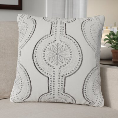 Elem Embroidery Velvet Throw Pillow Color: White