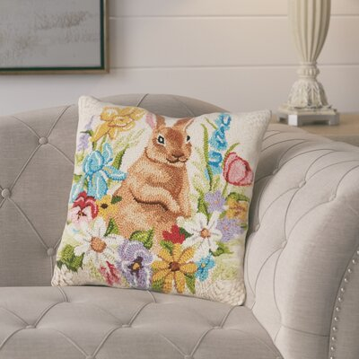 Garces Floral Bunny Wool Throw Pillow