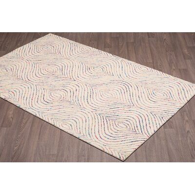 Quiles Hand-Woven Ivory Wool Area Rug Rug Size: Rectangle 5 x 8