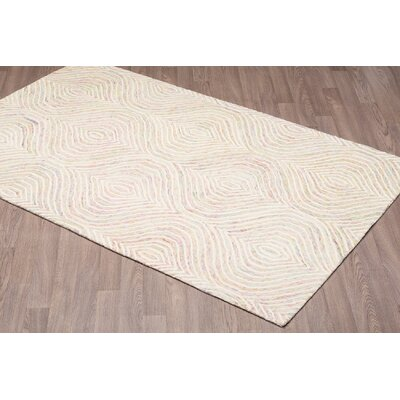Quinney Hand-Woven Ivory Wool Area Rug Rug Size: Rectangle 5 x 8