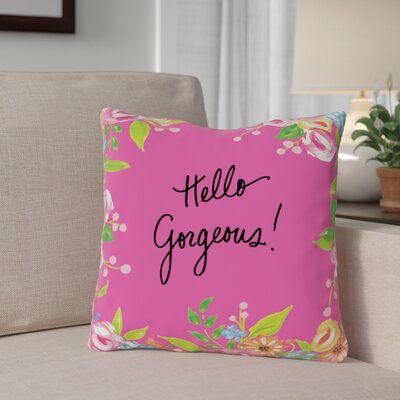 Blair-Pink Hello Gorgeous Floral Throw Pillow Size: 16 x 16