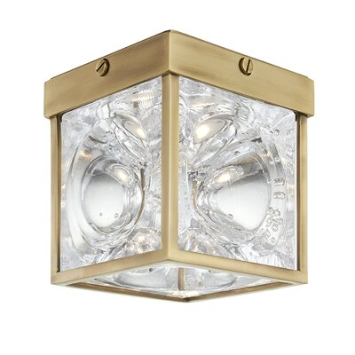 Marchan 1-Light LED Flush Mount Fixture Finish: Aged Brass