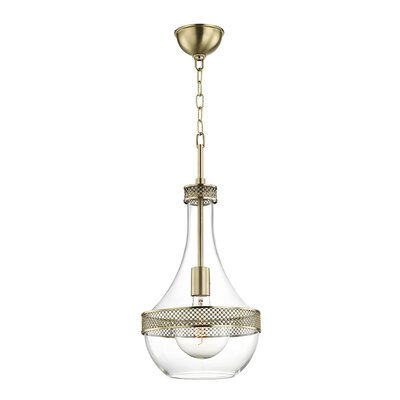 Manke 1-Light Mini Pendant Finish: Aged Brass, Size: 23 H x 10.75 W x 10.75 D