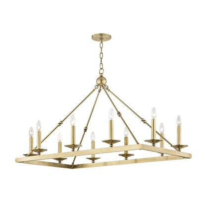 Castiglia 10-Light Candle-Style Chandelier Finish: Aged Brass