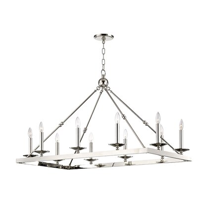Castiglia 10-Light Candle-Style Chandelier Finish: Polished Nickel