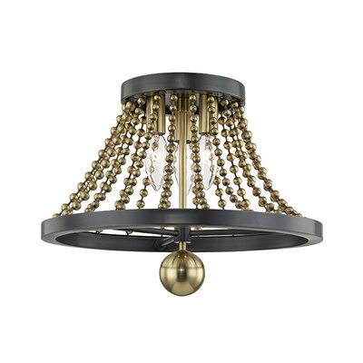 Wakeham 3-Light Flush Mount Fixture Finish: Aged Brass
