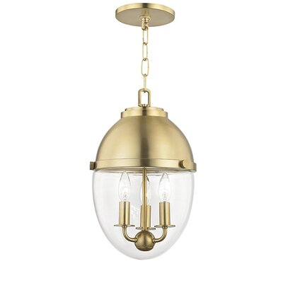 Caster 3-Light Foyer Pendant Finish: Aged Brass