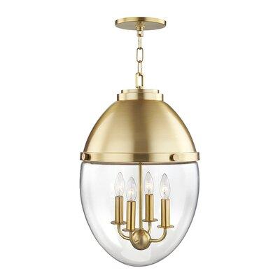 Caster 4-Light Foyer Pendant Finish: Aged Brass
