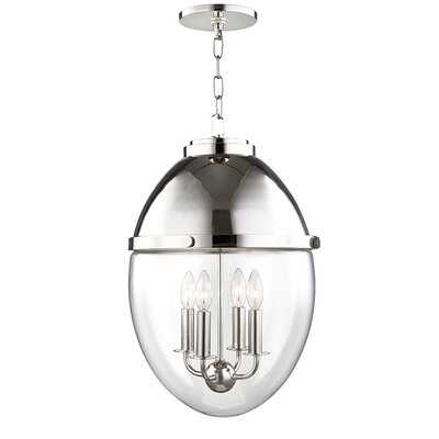 Caster 4-Light Foyer Pendant Finish: Polished Nickel