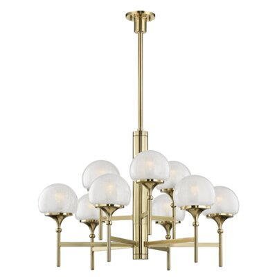 Leib 9-Light Candle-Style Chandelier Finish: Aged Brass