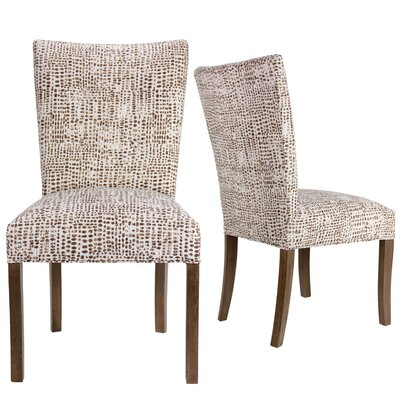 Garavan Upholstered Dining Chair Upholstery Color: Brown/White