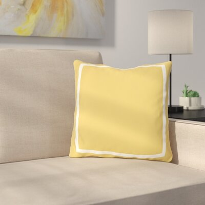 Biller Simple Square Outdoor Throw Pillow Color: Mimosa White, Size: 18 x 18