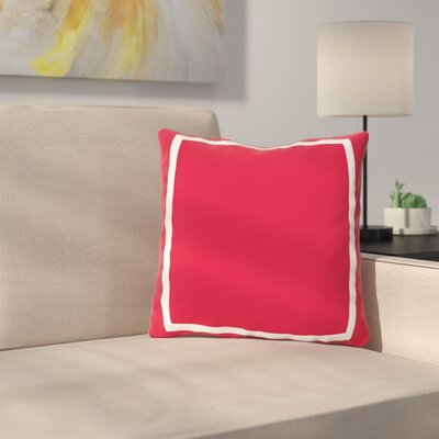 Biller Simple Square Outdoor Throw Pillow Color: Red, Size: 18