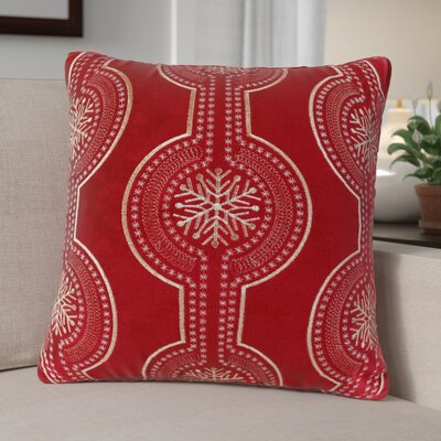 Elem Embroidery Velvet Throw Pillow Color: Red