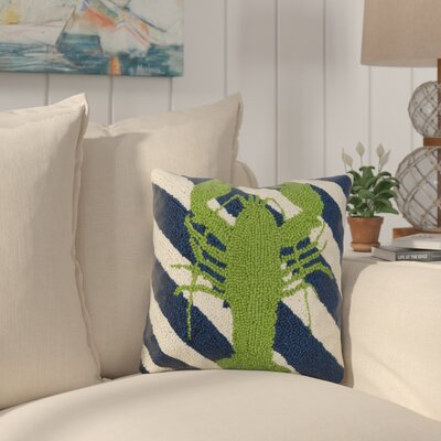 Earleville Lobster Stripes Wool Throw Pillow