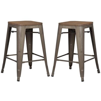 Alyssa 24 Bar Stool Color: Elmwood/Bronze
