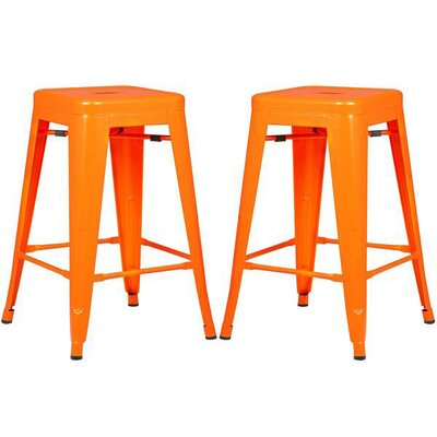 Alyssa 24 Bar Stool Color: Orange