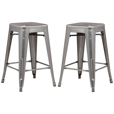 Alyssa 24 Bar Stool Color: Polished Gunmetal