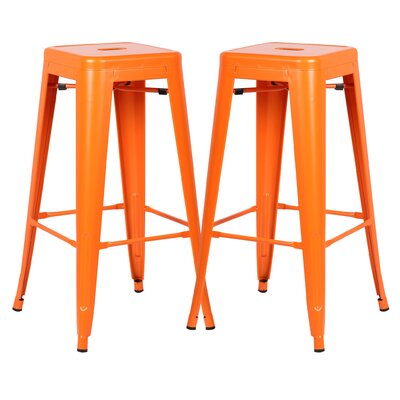 Alyssa 30 Bar Stool Color: Orange