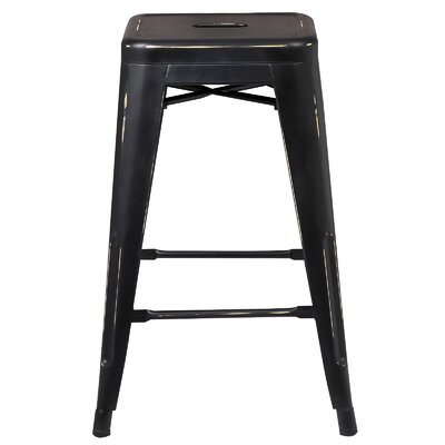 Alyssa 24 Bar Stool Color: Distressed Black