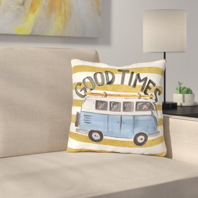 Pflugerville Good Times Bus Outdoor Throw Pillow Size: 18 x 18