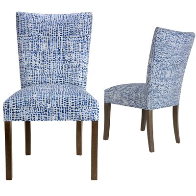 Garavan Upholstered Dining Chair Upholstery Color: Blue/White