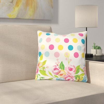 Petry Floral Dots Throw Pillow Size: 16 x 16