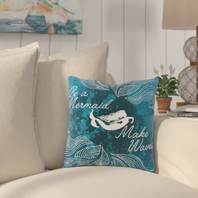 Cioffi Make Waves Dark Blue Outdoor Throw Pillow Size: 18 x 18